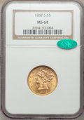 1882-S $5 MS64 NGC. CAC. NGC Census: (184/30). PCGS Population: (185/21). CDN: $700 Whsle. Bid for NGC/PCGS MS64. Mintag...
