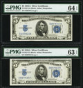Fr. 1651 $5 1934A Silver Certificates. Two Examples. PMG Graded Choice Uncirculated 63 EPQ; Choice Uncirculated 64 EPQ...