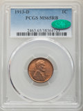 Lincoln Cents: , 1913-D 1C MS65 Red and Brown PCGS. CAC. PCGS Population: (33/1). NGC Census: (27/3). CDN: $500 Whsle. Bid for NGC/PCGS MS65...