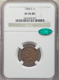 Indian Cents: , 1908-S 1C XF45 NGC. CAC. NGC Census: (350/901). PCGS Population: (422/1104). CDN: $165 Whsle. Bid for NGC/PCGS XF45. Mintag...