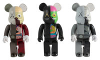 KAWS X BE@RBRICK Dissected Companion 400%, set of three, 2008 Painted cast vinyl 10-3/4 x 5 x 3-1