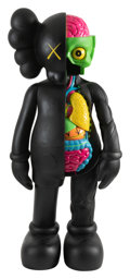Sculpture, KAWS (b. 1974). 4FT Dissected Companion (Black), early 21st century. Fiber-reinforced plastic. 50 x 20-1/2 x 13 inches (...