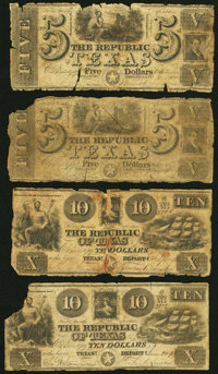 Austin, TX- Republic of Texas $5 circa 1839 Cr. A4, Two Examples; $10 circa 1839 Cr. A5, Two Examples Good or Better...