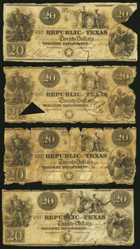 Austin, TX- Republic of Texas $20 circa 1839-41 Cr. A6, Nine Examples Good or Better. ... (Total: 9 notes)