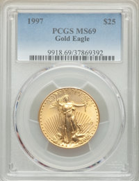 1997 $25 Half-Ounce Gold Eagle MS69 PCGS. PCGS Population: (787/36). NGC Census: (2581/169). CDN: $1,020 Whsle. Bid for...
