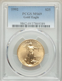 1992 $25 Half-Ounce Gold Eagle MS69 PCGS. PCGS Population: (1786/33). NGC Census: (5249/181). CDN: $1,020 Whsle. Bid for...