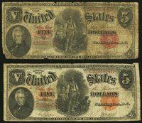 Fr. 83 $5 1907 Legal Tender Good; Fr. 87 $5 1907 Legal Tender Very Good. ... (Total: 2 notes)