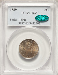 1889 5C PR65 PCGS. CAC. PCGS Population: (247/120). NGC Census: (194/107). PR65. Mintage 3,336. From The Triplets Col...