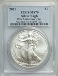 2011 $1 Silver Eagle, 25th Anniversary, MS70 PCGS. This lot will also include the following: 2011-S $1 Silver Eagle, 2...