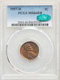 1957-D 1C MS66 Red and Brown PCGS. CAC. PCGS Population: (201/8). NGC Census: (207/20). Mintage 1,051,342,016. ...(PCGS#...