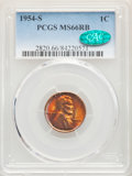 1954-S 1C MS66 Red and Brown PCGS. CAC. PCGS Population: (130/4). NGC Census: (77/17). Mintage 96,190,000. ...(PCGS# 282...
