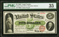 Large Size:Legal Tender Notes, Fr. 61b $5 1862 Legal Tender PMG Choice Very Fine 35.. ...