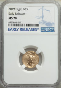 2019 $5 Tenth Ounce Gold Eagle, Early Releases MS70 NGC. NGC Census: (0). PCGS Population: (1808)....(PCGS# 694856)