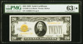 Small Size:Gold Certificates, Fr. 2402 $20 1928 Gold Certificate. PMG Choice Uncirculated 63 EPQ*.. ...