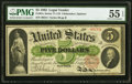 Large Size:Legal Tender Notes, Fr. 61c $5 1862 Legal Tender PMG About Uncirculated 55 EPQ.. ...