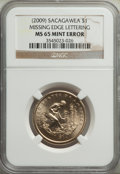 Sacagawea Dollars, (2009) $1 Native American, Missing Edge Lettering, MS65 NGC. PCGS Population: (1572/3716). CDN: $40 Whsl...