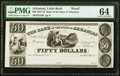 Little Rock, AR- Bank of the State of Arkansas (Branch Issue) $50 18__ G48 Rothert 400-4 Proof PMG Choice Uncirculated 6...