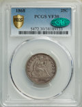 Seated Quarters, 1868 25C VF30 PCGS. CAC. PCGS Population: (3/81 and 0/2+). NGC Census: (1/28 and 0/0+). CDN: $480 Whsle. Bid for NGC/PCGS V...