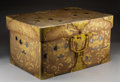 Carvings, An Imperial Japanese Maki-e Lacquered Wedding Chest with Bronze and Silver Inlays and Bronze Hardware, Edo Period, 19th cent...