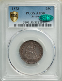 1873 25C Arrows AU50 PCGS. CAC. PCGS Population: (25/242 and 0/5+). NGC Census: (11/199 and 0/2+). CDN: $335 Whsle. Bid...