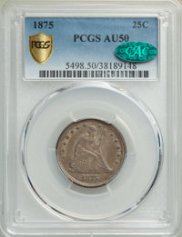 1875 25C AU50 PCGS. CAC. PCGS Population: (26/352 and 0/6+). NGC Census: (11/297 and 0/2+). CDN: $120 Whsle. Bid for NGC...
