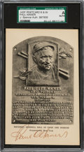 Baseball Collectibles:Others, 1952-53 Paul Waner Signed Albertype Hall of Fame Plaque Postcard....