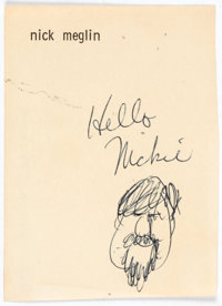 George Woodbridge Self-Caricature and Greeting Original Sketch (c. 1970s)