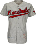 Baseball Collectibles:Uniforms, 1956 Red Schoendienst Game Worn & Signed St. Louis Cardinals Jersey--Ultra-Rare Single-Season Style!...