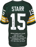 Football Collectibles:Uniforms, 2000's Bart Starr Signed Green Bay Packers Stat Embroidered Jersey...
