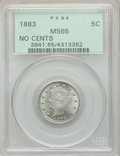1883 5C No Cents MS65 PCGS. PCGS Population: (1728/545). NGC Census: (1949/547). CDN: $175 Whsle. Bid for NGC/PCGS MS65...