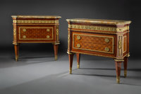 A Pair of Fine Jean-Eugène LeClaire Neoclassical Gilt Bronze Mounted Mahogany, Tulipwood, and Fruitwood Parquetry...