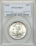 Walking Liberty Half Dollars: , 1943 50C MS67 PCGS. PCGS Population: (587/13). NGC Census: (526/22). CDN: $315 Whsle. Bid for NGC/PCGS MS67. Mintage 53,190...