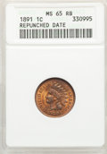 1891 1C Repunched Date MS65 Red and Brown ANACS. Mintage 47,072,352....(PCGS# 2179)
