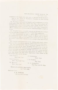 Appomattox Court House Terms of Surrender: Rare In-the-Field Printed Announcement