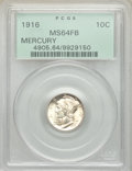 1916 10C MS64 Full Bands PCGS. PCGS Population: (1736/1853). NGC Census: (780/1196). CDN: $65 Whsle. Bid for NGC/PCGS MS...