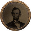 Political:Ferrotypes / Photo Badges (pre-1896), Abraham Lincoln: 1864 Uniface Ferrotype Badge....