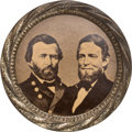 Political:Ferrotypes / Photo Badges (pre-1896), Grant & Colfax: Outstanding, Large, Cardboard Jugate....
