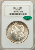 1881-S $1 MS65 NGC. CAC. NGC Census: (55187/22377). PCGS Population: (56024/17366). MS65. Mintage 12,760,000. ...(PCGS#...
