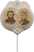 """Political:Ferrotypes / Photo Badges (pre-1896), Grant & Colfax: Outstanding Cardboard Jugate Stickpin in Bisque Porcelain """"Union"""" Frame...."""