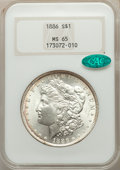 Morgan Dollars: , 1886 $1 MS65 NGC. CAC. NGC Census: (22669/6144). PCGS Population: (17714/3896). MS65. Mintage 19,963,886. ...