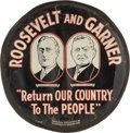 Political:3D & Other Display (1896-present), Roosevelt & Garner: Phenomenal Jugate Tire Cover....