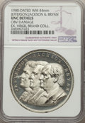 1900 National Democratic Convention Medal (Jefferson, Jackson, and Bryan) -- Obverse Damage -- NGC Details. Unc. White m...