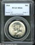 Kennedy Half Dollars: , 1964 MS66 PCGS. ...