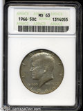Kennedy Half Dollars: , 1964-D MS65 ANACS. ...