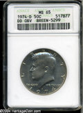 Kennedy Half Dollars: , 1974-D 50C Double Die Obverse MS65 ANACS, Breen 5299.