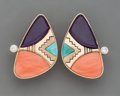 American Indian Art:Jewelry and Silverwork, A Pair of Hopi Clip-On Earrings Jesse Monon...