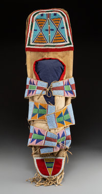A Rare Crow Beaded Cloth Cradleboard