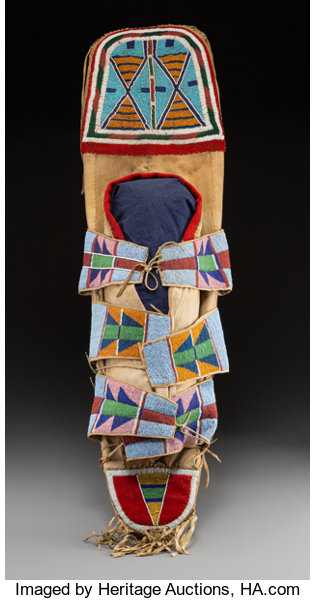 American Indian Art:Beadwork and Quillwork, A Rare Crow Beaded Cloth Cradleboard c. 1880