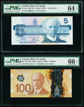 Canada Bank of Canada $5; 100 1986; 2011 BC-56a; BC-73a Two Examples PMG Choice Uncirculated 64 EPQ; Gem Uncirculated 66...
