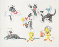 Virgil Ross - Sylvester and Tweety Drawing Original Art (Warner Brothers, c. 1990s)